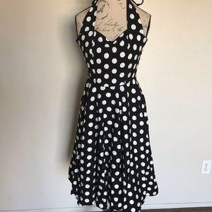 Hell Bunny Vixen Polka Dot Summer Halter Dress XS